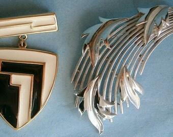 Two Vintage Signed Modern Trifari Pins,