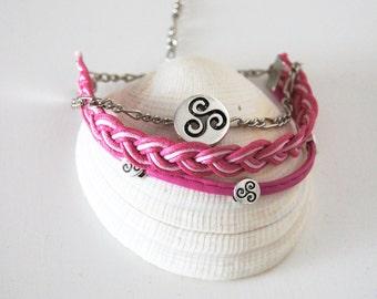 FREE Shipping BDSM symbol triskelion jewelry baby girl jewelry submissive jewelry bdsm bracelet kinky jewelry mature submissive dominant