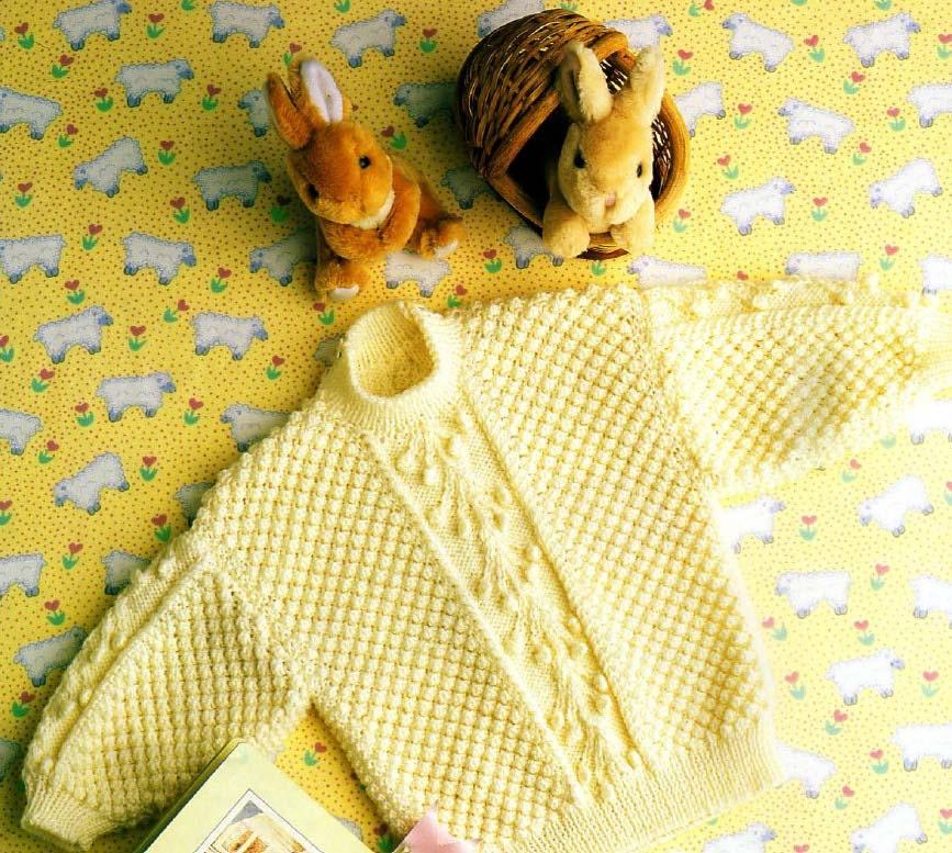 Knitting Pattern Round Neck Jumper : Baby Cabled Round Neck Sweater knit pattern vintage digital