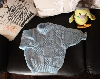 Checkmate - Baby Blue Knitted Jumper/Sweater - 6-9mth old
