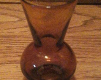 Tiny Vintage Amber glass Vase