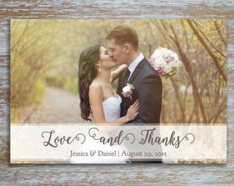 Rustic Elegant Wedding Thank You Photo Postcard Download | Personalized Customizable Printable PDF 4x6 5x7 Digital File
