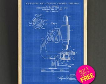 Microscope Patent Print Science Microscope Blueprint Poster House Wear Wall Art Decor Gift Linen Print - Buy 2 Get FREE - 305s2g