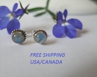 Silver moonstone stud earrings, 92.5 sterling silver