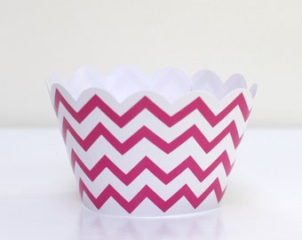 Hot Pink Chevron Cupcake Wrappers Pack of 12