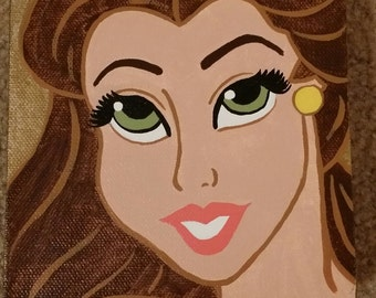 CLEARANCE! Inspired by Beauty and the Beast Princess Belle Portrait Hand-Painted Canvas