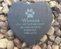 Engraved slate memory plaque heart memorial pet garden cat dog paw print keepsake pet loss grave marker