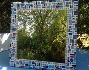 Large Square Mosaic Wall Bathroom Mirror in shades of Blue / Turquoise