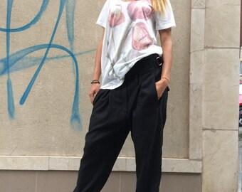 Loose Linen Black Pants, Wide Leg Harem Pants, Extravagant Black Pants, Side Pockets Black Trousers by SSDfashion