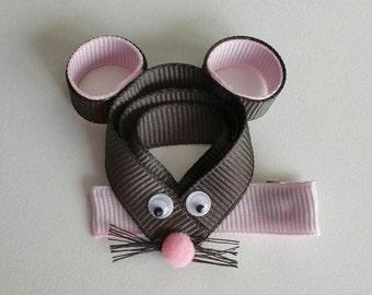 Mouse Sculpted Ribbon Hair Clip