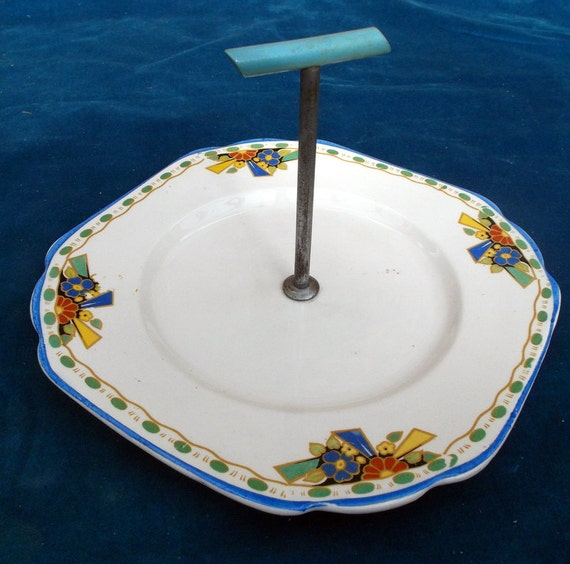 art deco porcelain cake plate by thebugsymagpie on Etsy