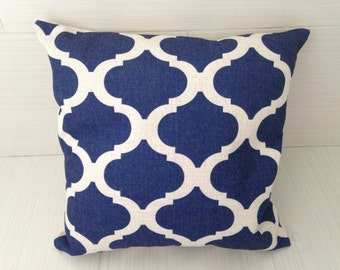 Navy Quatrefoil Pillow Cover *ON SALE