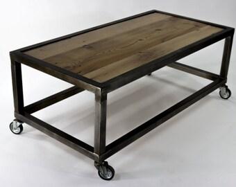 rolling end table etsy. Black Bedroom Furniture Sets. Home Design Ideas