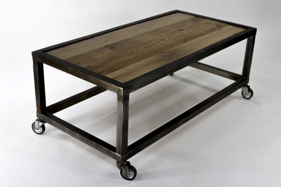 Rolling Industrial Coffee Table By Kevingibbonsart On Etsy