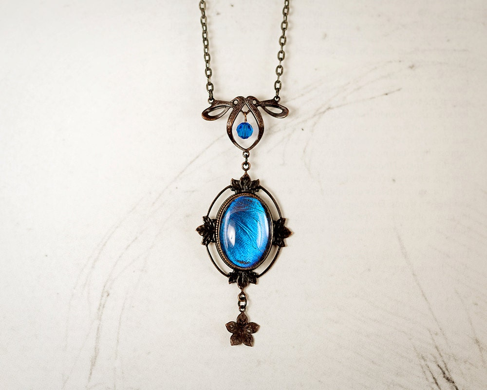 Blue Butterfly Jewelry: Real Butterfly Necklace Real Butterfly Jewelry Blue Morpho