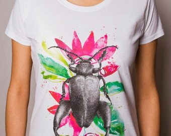 Woman T-Shirt with printed Watercolor Beetle and Flowers