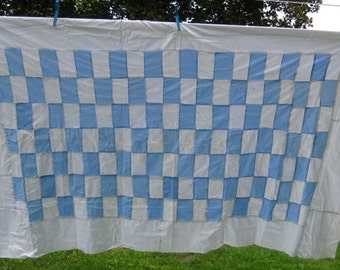 Vintage Quilt Top, Blue and White