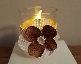 Votive glass candle holders hand decorated. Set of 4