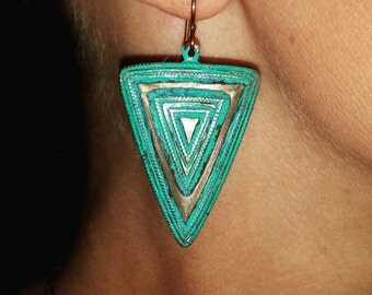 Turquoise Aztec Angles {Happy Camper Earrings}