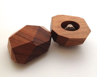 Australian Blackwood Secret Sharer Faceted Wood Ring Box, Engagement, Wedding, Presentation Box, Ring Bearer, Proposal, Occasion,