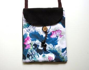 Cotton Canvas Crossbody Bag-saddlebrown,lotus,Phone Bag,sling bag