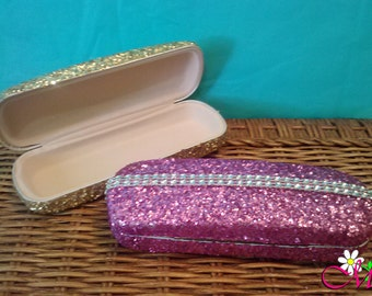 Glitter Eyeglass Case, Reading Glasses Case, (Your Choice of Color), Glasses Cases, Pink Glasses Cases