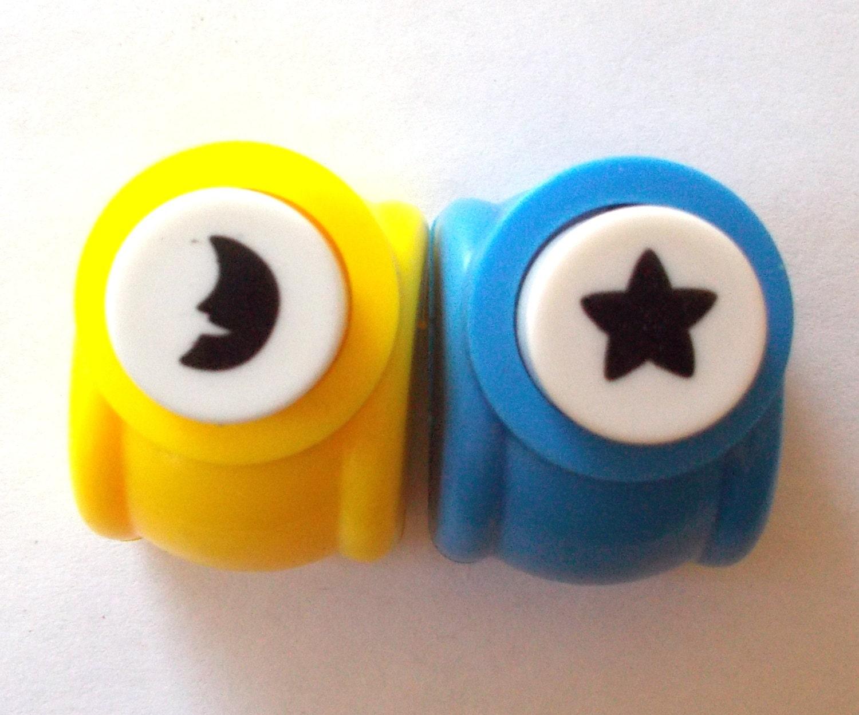Mini paper punch 2 piece set one moon and one star shape 600 jeuxipadfo Choice Image