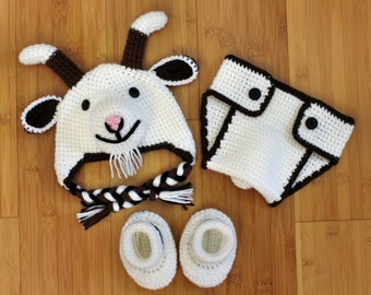 Crochet Baby Set, Goat Baby Set, Farm Baby Set, Hat and Diaper Cover, Baby Shower Gift, Photography Prop, Baby Goat