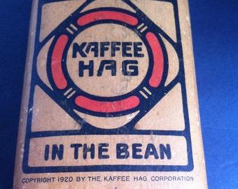 Vintage Coffee Tin. 1920 One Pound Kaffee Hag, Coffee Tin