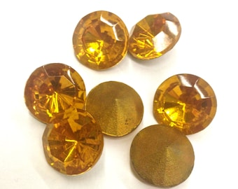 4 Pieces 60ss Topaz Chaton Stones with B+ Gold Foil on Back, Vintage Czech