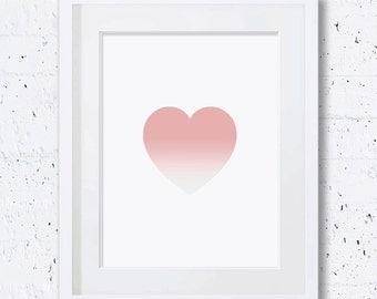Peach,Heart,Print,Coral,Heart Silhouette,Heart Art Print,Nursery Heart Print,Printable Art,Downloadable,Wall Print,Coral Heart,Minimal Art