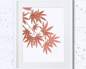 Maple, Maple Leaves Print, Leaves Silhouette, Zen, Art Print, Coral, Red Bean, Nursery Print, Printable Art, Minimalist Art, Wall Deco