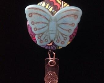 Blue Stone Butterfly -Nurse Retractable ID Badge Reel/ RN Badge Holder/Doctor Badge Reel/Nurse Badge Holder/Student Nurse badge reel/ nursin