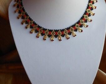 "Necklace ""Sylyanka"",Beaded necklace, black necklace, Ukrainian necklace, beaded jewelry"