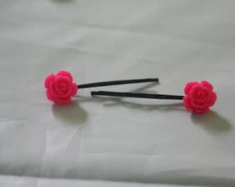 Flower bobby pins-pink flower bobby pins- hair accessories-flower bobby pins-rose bobby pins-pink  rose hair accessories