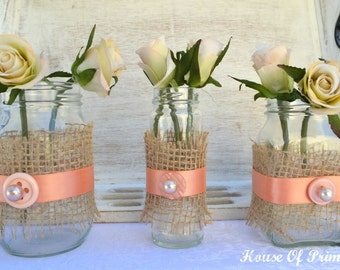 Burlap and coral/apricot mason jar wedding decorations - set of 3. With buttons and pearls.