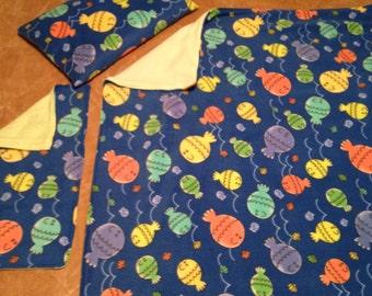 Baby Fish Fleece Blanket Burp Rag and Pillow set