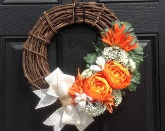 Summer Wreath, Summer Wreaths for Front Door, Front Door Wreaths,  Fall Wreath, Year Round Wreath, Wreath for Door, Orange Wreath