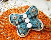 butterfly brooch / brooch textile / art textile / fabric brooch / fabric jewelry / soft sculpture / decoration for dresses