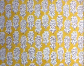 5 Yards Hand Block Printed Fabric: Blue, Sky Blue, Pink, Yellow, Gray