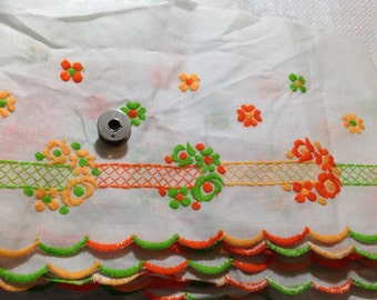 12 foot piece 7 in FLAT LACE bright orange and greens, scalloped edge