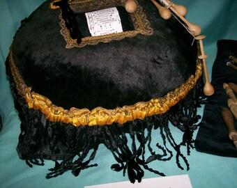1800's Lace Bobbins Vintage Making  Pillow  Antique Lace Making Pillow