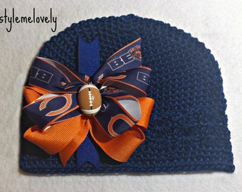 Chicago Bears Baby Girl Boutique Bow Crocheted Hat