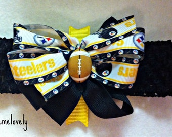 Pittsburgh Steelers baby Girl Boutique Bow Crocheted Headband