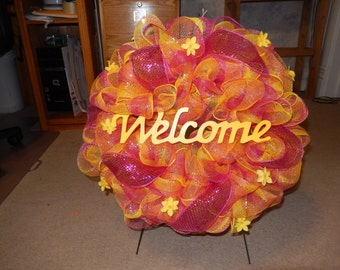 """colorful deco mesh """"welcome"""" wreath"""