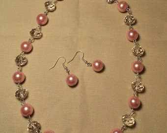 Handmade dark pink glass pearl necklace