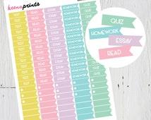 PRINTABLE Student Planner Flag Stickers Soft Pastels, Planner Stickers, Erin Condren Planner, Plum Paper Planner, Kikki K, Filofax,Calendars