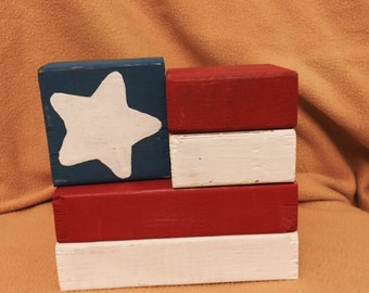 American Flag Inspired Wooden Blocks