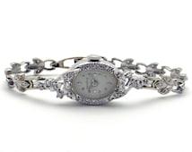 Vintage 14k White Gold 1ct Diamond Geneve Panto Manual Bracelet Watch 17 Jewels