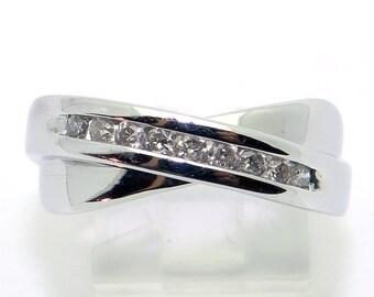Vintage 14k White Gold Round Brilliant Cut Diamond .18ct Wedding Band Ring Size 8.75